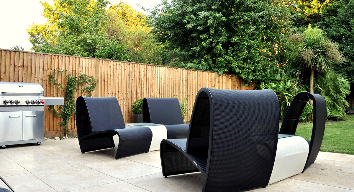 Contemporary seating on Tiled Patio