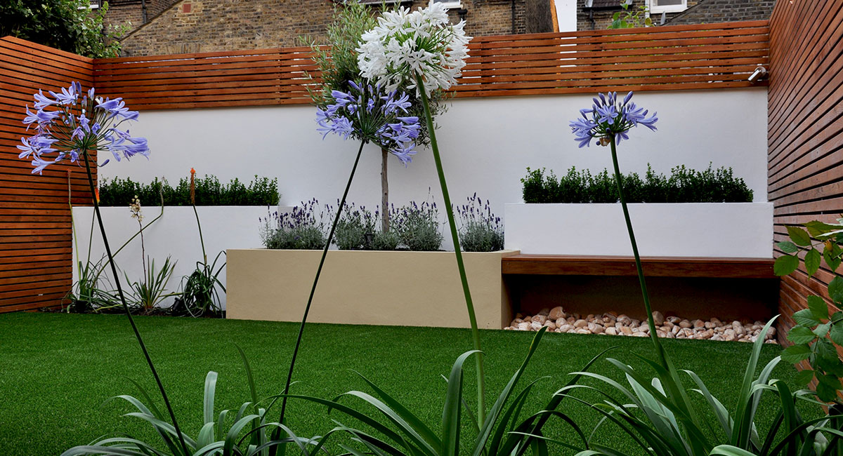 Box hedge, height change garden, privacy screening, stylish design