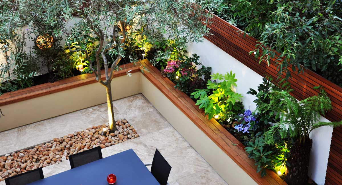 Greek style garden design chelsea london bamboo landscaping for Garden design landscaping company